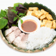 Vietnamese traditional plate pork vermicelli  tofu and vegetable — Foto de Stock