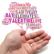 Stock Photo: Valentine concept Asimale holding tree shape tag cloud