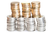 Stacks of Canadian coins — Stock Photo
