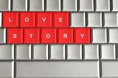 Love story spelled on metallic keyboard — Foto Stock