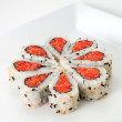 Stock Photo: Sushi nicely decorated forming hearts  shapes on white square di