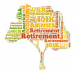 American retirement plan concept with word cloud — Stock Photo