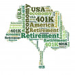 American retirement plan concept with word cloud — Stock Photo #44517985