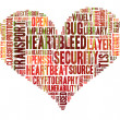Heartbleed concept with tag cloud forming the heart shape with b — Stock Photo