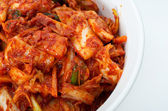 Korean cuisine, fermented food Kimchi on white ceramic bowl — Stock Photo