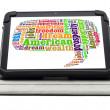 American dream concept with word cloud on a tablet screen on a s — Stock Photo #47590731