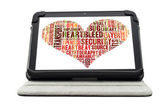 Heartbleed exploit concept word cloud forming a heart shape on a — Stock Photo