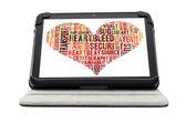 Heartbleed exploit concept word cloud forming a heart shape on a — Stock Photo