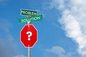 Problem and solution concept with signpost against blue sky back — Stock Photo