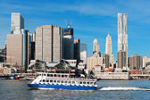 NEW YORK - NOVEMBER 25: A ferry from NY Waterway tour filled wit — Stock Photo
