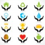 icona della mano con icone differenti oggetto — Vettoriale Stock  #29510841