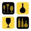 wine glass and bottle icon collection — Stock Vector