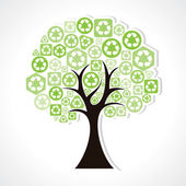 Tree forming by green recycle icons — Stock Vector
