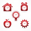 Clock in different shapes — Imagen vectorial