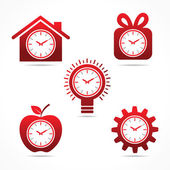 Clock in different shapes — Stock Vector