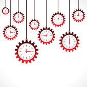 Colgante del engranaje relojes forma roja — Vector de stock