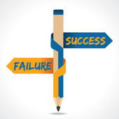 Success Failure arrow in opposite directions of pencil — Stock Vector