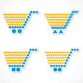 Vector Shopping Cart Icon Set with different shapes — Stock Vector