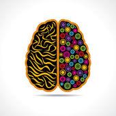 Conceptual idea silhouette image of brain with gear — Stock Vector