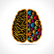 Conceptual idea silhouette image of brain with euro symbol — Stok Vektör