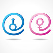 Male and female symbol inside the message icon — Stock Vector