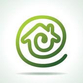 Green Home make a message icon — Stock Vector