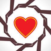 Proteggere il concetto di cuore — Vettoriale Stock