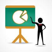 Man aanwijsapparaat zakelijke grafiek — Stockvector