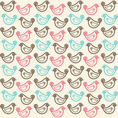 Vector seamless pattern with funny birds — Stock Vector