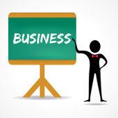 Man pekar på handskrivna business — Stockvektor