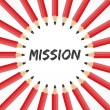 Mission  word with pencil background — Stockvectorbeeld