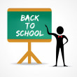 Back to school sign in green board — Stock Vector