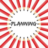 Planning woord met potlood achtergrond — Stockvector