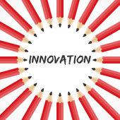 Innovation wort mit bleistift-hintergrund — Stockvektor