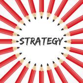 Mot de la stratégie avec fond de crayon — Vecteur