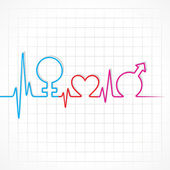 Heartbeat make male,female and heart symbol — Stock vektor