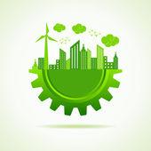Eco-city-konzept mit getriebe — Stockvektor