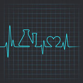 Heartbeat make testtube and heart symbol — 图库矢量图片