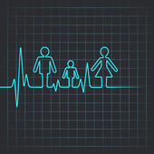 Heartbeat make family icon — Stock Vector