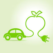Eco car make a apple icon — Stock Vector