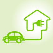 Eco car make a home icon — Stock Vector