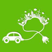 Concetto di ecologia con auto eco e cloud — Vettoriale Stock
