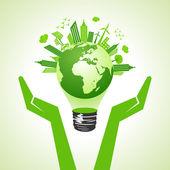Speichern von eco-erde mit zwiebel — Stockvektor