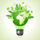Ekologie koncept s žárovkou — Stock vektor