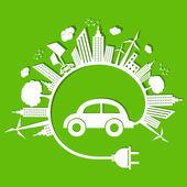 Concept d'écologie avec eco voiture — Vecteur
