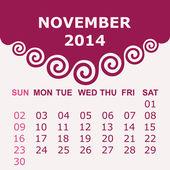 Calendar of 2014 with spiral design — Stock Vector