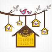 Takvim temmuz 2014 kuşlar ile oturup şube — Stok Vektör