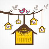 Calendario de febrero de 2014 con pájaros sentarse en rama — Vector de stock