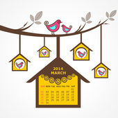 Calendar of March 2014 with birds sit on branch — Stock Vector