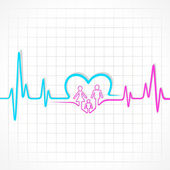 Heartbeat make male,female and heart symbol — Stock Vector